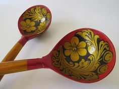 Pair of Russian Khokhloma Hand Painted Wooden Spoons