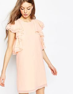 Buy it now. ASOS Ruffle Mini Shift Dress - Nude. Dress by ASOS Collection Lightweight chiffon Fully lined Round neckline Layered ruffle detail to body Hook and eye zip back fastening Relaxed fit Machine wash 100% Polyester Our model wears a UK 8/EU 36/US 4 and is 178cm/5'10 tall , vestidoinformal, casual, camiseta, playeros, informales, túnica, estilocamiseta, camisola, vestidodealgodón, vestidosdealgodón, verano, informal, playa, playero, capa, capas, vestidobabydoll, camisole, túnica, s...