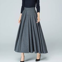 Maxi Wool skirt maxi skirt gray skirt wool skirt pleated skirt winter skirt warm skirt asymmetrical skirt handmade skirt by xiaolizi Gray Skirt, Ruffle Skirt, Dress Skirt, Waist Skirt, Maxi Skirt High Waisted, Winter Rock, Winter Hats, Winter Style, Handmade Skirts