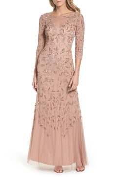 Main Image - Adrianna Papell Beaded A-Line Gown (Regular & Petite) Evening Dresses With Sleeves, Mob Dresses, Gowns With Sleeves, Petite Dresses, Bride Dresses, Evening Gowns, Bridesmaid Dresses, Mother Of The Bride Gown, Mother Of Groom Dresses
