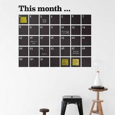 Ferm Living Wandsticker/Kreidetafel `This month` aus Vinyl, schwarz, 100x98cm