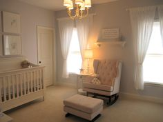 Soft sweet nursery! Love the chandelier, hence keeping ours!