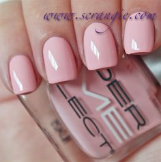 """Dermelect Persuasive. This one is a light peach-pink creme. Like Luxurious, it's somewhere in between light pink and pastel pink. It seems to have a whitish base, but it's not one of those stark, chalky, white-based """"mod"""" pinks. Soft, flattering, very dense, opaque and non-streaky. And oddly enough, doesn't seem to look bad against my skin color."""