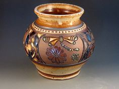 Vase With Dragonflies, Mosaic Patterns, Slip Design, Soft Brown Glaze, Hand Carved, Hand Thrown, Ready To Ship