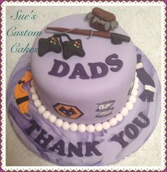 Fathers Day hobbies cake. Fishing, football, computers