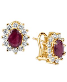 Ruby (3 ct. t.w.) and Diamond (1-1/5 ct. t.w.) Earrings in 14k Gold