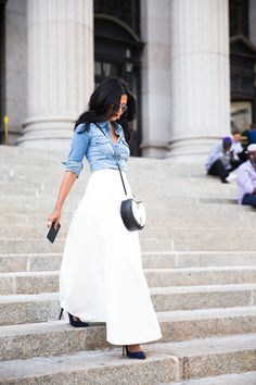Love the skirt and denim top | Walk in Wonderland