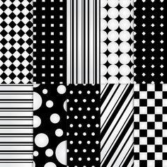 printable shapes for digital scrapbooking   Digital Scrapbook Paper . PRINTABLE . Shapes : Black & White Reverse ...