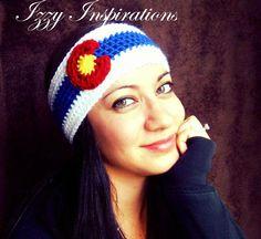 White Out Colorado Flag Headband or Earwarmer by IzzyInspirations, $16.00 #co #colorado #coflag #coloradoflag #beanie #hat #headband #earmer #izzyinspirations #crochet