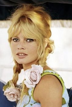 Brigitte Bardot with flowers in the hair