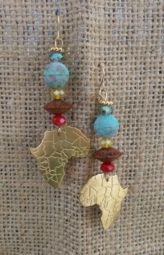 Africa Earrings, African Earrings, Tribal Earrings, Handmade Earrings, Handmade Jewelry, Handmade, Jewelry, Earrings, Africa Dangle Earrings by SacredGemz on Etsy