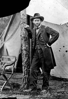 This photograph is probably the most famous photograph of General Ulysses Grant.  This photograph was taken by the famous Matthew Brady at General Grant's headquarters in      Cold Harbor, VA