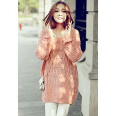 Sweet Scoop Neck Lace Embellished Back Long Sleeves Slimming Cotton Thread Women's Sweater
