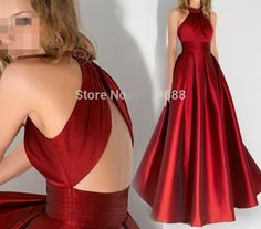 Long Evening Dresses Beaded Halter Floor Length Prom