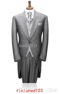 light gray morning suit | 2015-Custom-Made-Morning-style-suits-Light-gray-Groom-Tuxedos ...