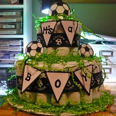 soccer themed diaper cake - Google Search