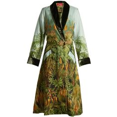 F.R.S  For Restless Sleepers Escape velvet-trimmed floral-print silk... (1,540 CAD) ❤ liked on Polyvore featuring intimates, robes, green print, silk dressing gown, silk bath robes, green shrug, floral bathrobe and floral cami