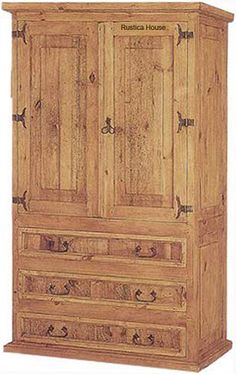 Tall mexican armoire is in rustic victorian style. The armoire is artisan made in natural pine, rustic or colonial finishing. Mexican Furniture, Southwest Style, Entry Foyer, Mexican Style, Western Decor, Victorian Fashion, Cool Furniture, Armoire, Rustic