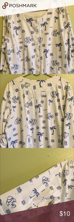 Beachy light weight sweat shirt Round neck button up front, 3/4 length sleeves, front working pockets. 60% cotton 40% polyester. Palm Grove from Bealls Tops Sweatshirts & Hoodies