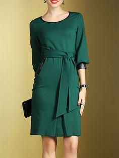 Shop Midi Dresses - Crew Neck 3/4 Sleeve Viscose Paneled Simple Midi Dress online. Discover unique designers fashion at StyleWe.com.