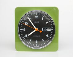 Vintage Flip Calendar Wall Clock / Day & Date / Chronoquartz / Kienzle , 70's Germany / Avocado Green | by orangem6