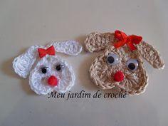 Meu jardim de crochê: Carinhas de coelho em crochê para aplicação  video de Maggie's  crochet.com