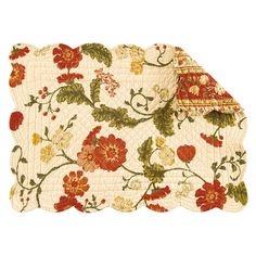Set of four quilted cotton placemats with a floral motif and scalloped edges.   Product: PlacematConstruction Material: ...