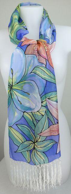 Hand painteds silk scarf ultramarine blue by SilkByHeronDesigns, £75.00