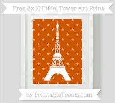 Burnt Orange Star Pattern  8x10 Eiffel Tower Art Print