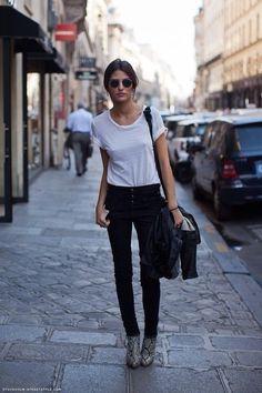 White tee, black jeans, snakeskin booties.