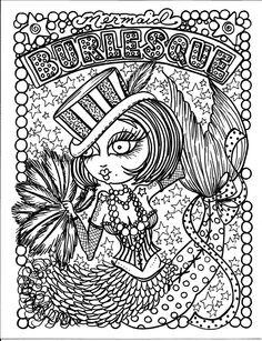 Burlesque Mermaid Myth Mythical Mystical Legend Mermaids Siren Fantasy Mermaids Ocean Sea Enchantment Sirenas Abstract Doodle Zentangle Paisley Coloring pages colouring adult detailed advanced printable Kleuren voor volwassenen coloriage pour adulte anti-stress kleurplaat voor volwassenen https://www.facebook.com/848770148469936/photos/pb.848770148469936.-2207520000.1438815488./863671296979821/?type=3