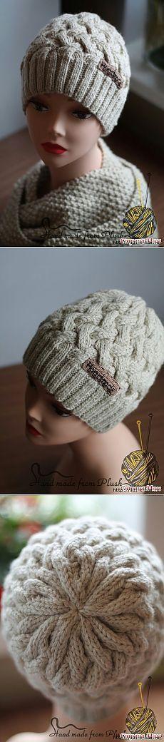 Женская шапочка, связанная аранским узором — Рукоделие