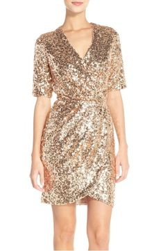 Main Image - French Connection Sequin Mesh Faux Wrap Dress