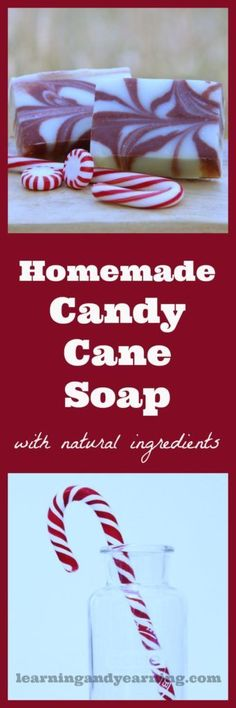 Scented with peppermint essential oil, homemade candy cane soap is perfect for Christmas gift-giving. And it's made with all natural ingredients. Soap making and natural living at its best! Homemade Soap Recipes, Homemade Candies, Homemade Gifts, Christmas Soap, Homemade Christmas, Christmas Crafts, Handmade Soaps, Diy Soaps, Home Made Soap