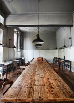 rustic table   industrial lights