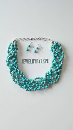 Statement Necklace Turquoise Necklace Blue Wedding Jewelry Bridesmaid Multi Strand Necklace Chunky Bib Blue and Silver by JewelrybyEspe on Etsy https://www.etsy.com/listing/467901597/statement-necklace-turquoise-necklace