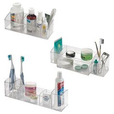 InterDesign Med+ Bathroom Medicine Cabinet Organizers, for Vitamins, Toothbrushes, Contact Lenses, Medical Supplies - Set of 3, Clear