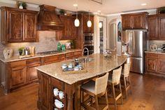 Knotty alder cabinets stained onsite with light granite countertops #LOVELOVELOVE ^KL