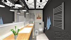 łazienka, industrialna; w stylu industrialnym, nowoczesna łazienka, projekt wnętrza, projekt wnetrza, lazienka, inspiracje, szare sciany, ciemna łazienka, beton, beton na ścianach, sufit, ciekawy sufit, w miejskim stylu, aranżacja wnętrz, pomysł na łazienkę, bathroom, design, interior, interiordesign, home, home decor, home style, inspiration, industrial