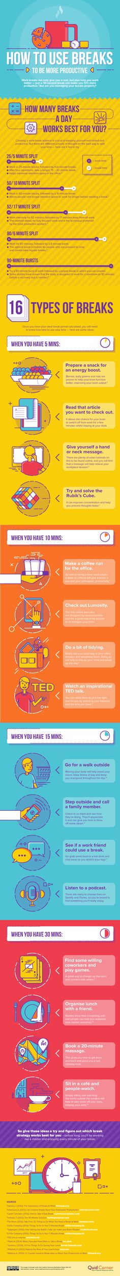 How to Use Breaks to Be More Productive Infographic - http://elearninginfographics.com/how-to-use-breaks-to-be-more-productive-infographic/