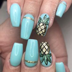 Cool Tropical Nails Designs for Summer ★ See more: naildesignsjourna. Cool Tropical Nails D Tropical Nail Designs, Cute Summer Nail Designs, Cute Summer Nails, Blue Nail Designs, Diy Nail Designs, Summer Design, Acrylic Nail Designs For Summer, Nail Art Ideas For Summer, Tropical Nail Art