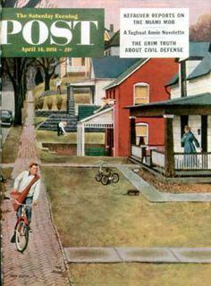 Saturday Evening Post - 1951-04-14: Paperboy (John Falter)