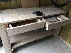 Werkbank gemaakt van steigerhout