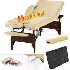 Heat Massage Table Heated Spa Salon Professional Portable Warmer Bed Fold Case