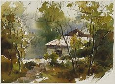 【阿里山的小別墅】27*36CM,2009 Watercolour,ARCHES ............By Chien Chung Wei