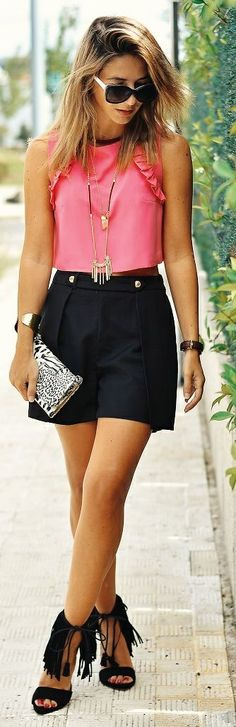 Ma Petite By Ana Pink And Black Preppy Chic Outfit Idea