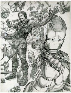 Emmshin's Fantastic Fan Art line art of Marvel Comics (c) Iron Man / Tony Stark suitin' up - Wow!