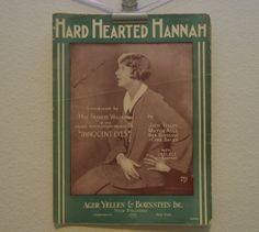 Vintage 1924 Hard Hearted Hannah Music and by FloridaFindersPaper, $10.00