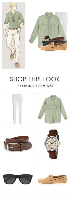 """Modern Look - Erwin Smith"" by balancewarlord ❤ liked on Polyvore featuring Levi's, Dsquared2, Equipment, Robert Graham, Wenger, EyeBuyDirect.com, Sperry, modern, men's fashion and menswear"