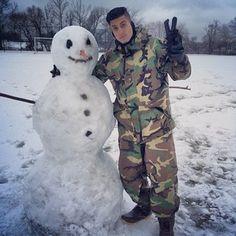 Jesse and jeana built a snowman.